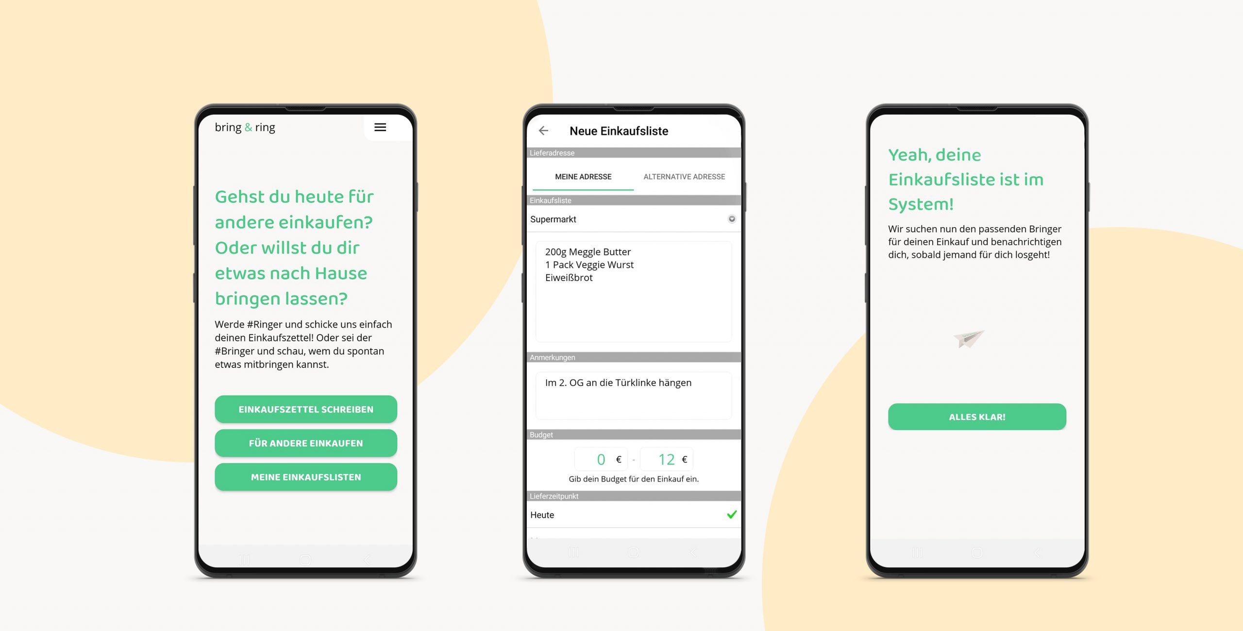 Drei Screenshot aus der Bring & Ring App